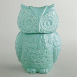 World Market Aqua Blue Owl Cookie Jar Ceramic Boho